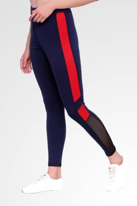 Solid Women Red, Blue Tights