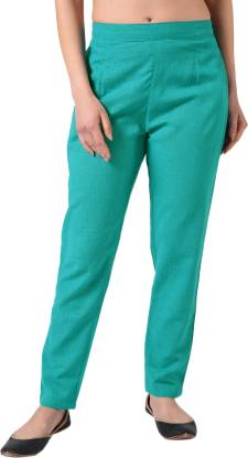 Regular Fit Women Light Blue Pure Cotton Trousers