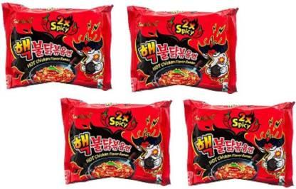 Samyang 2X Spicy Hot Chicken Flavor Ramen Fire Chicken (buldak) Double Spicy 140g*4pack Hakka Noodles Non-vegetarian
