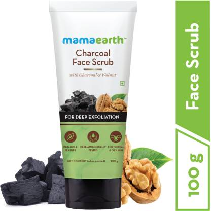 MamaEarth Charcoal Face Scrub For Oily Skin & Normal skin, with Charcoal & Walnut for Deep Exfoliation – 100g Scrub