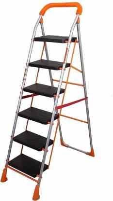 PARASNATH Parasnath Orange Diamond Heavy Folding Ladder with Wide Steps 6 Steps Ladder Aluminium Ladder