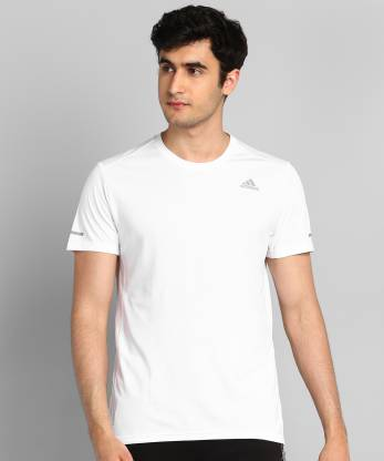 ADIDAS Self Design Men Round Neck White T-Shirt