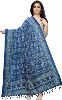 Khadi Cotton, Cotton Blend Printed Dark Blue Women Dupatta