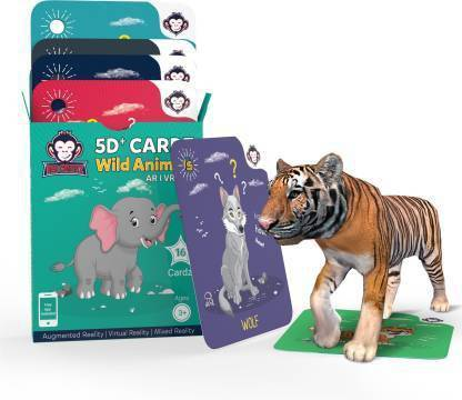 RedChimpz 5D+ AR VR Wild Animals Flashcard for Kids | Augmented and Virtual Reality Based Online Educational Learning Toy | Includes 20 Flashcards | For the Age of 3-8 Yrs with iOS & Android app