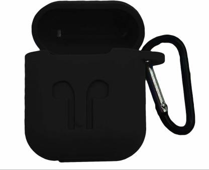MobiTussion Front & Back Case for Silicon Protective Soft Sleeve Skin Cover Compatible with Apple AirPods Cover (Black)
