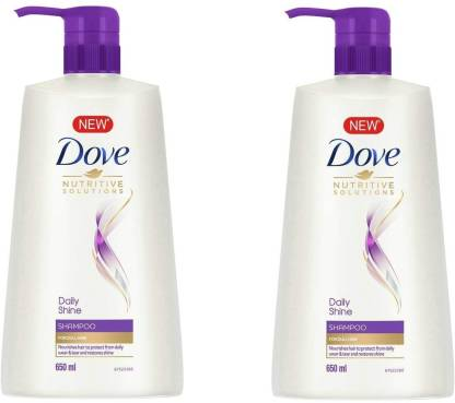 DOVE Daily Shine Shampoo, 650ml (Pack Of 2)