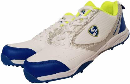 Pro Champions Rubber Cricket Shoes For Men(White, Blue, Green)