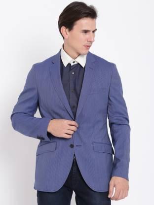 Solid Bandhgala Formal Men Blazer(Blue)