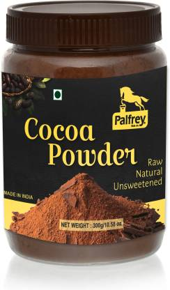 PALFREY Unsweetened & Natural 300g Cocoa Powder for Making Chocolate Cake, Cookies, Bread, Shake, Brownies, Desserts | Vegan, Keto & Gluten Free With Jar Pack Cocoa Powder