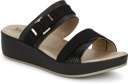 Women Black Wedges Sandal