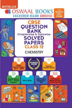 Oswaal Cbse Question Bank Class 12 Chemistry Book Chapterwise & Topicwise Includes Objective Types & MCQ's