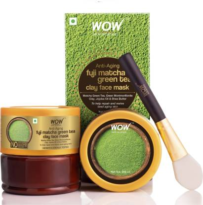 WOW SKIN SCIENCE Anti-Aging Fuji Matcha Green Tea Clay Face Mask for Repairing & Reviving Tired Aging Skin- No Parabens, Sulphate, Mineral Oil & Color - 200mL