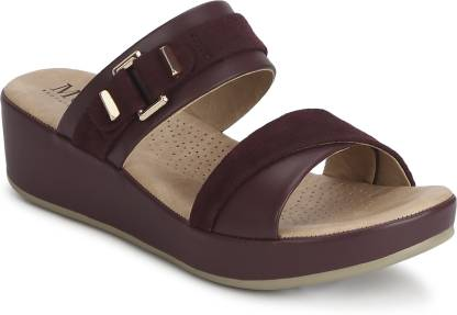 Women Burgundy Wedges Sandal