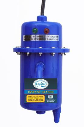 Capital 1 L Instant Water Geyser (1 L Instant Water Geyser (1 L Instant Water Geyser (Instant Water Geyser, Water Heater, Portable Water Heater, Geysers Made of First Class Plastic, 3kw copper aliments, with WITH INSTALLATION KIT BLUE, White, Blue)