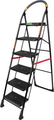 FLIPZON Premium Heavy Foldable Cameo 6 Steps Ladder with Wide Steps & Anti-Skid Shoes - Black Steel Ladder