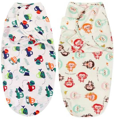 Babymoon Printed Single Swaddling Baby Blanket PACK OF 2