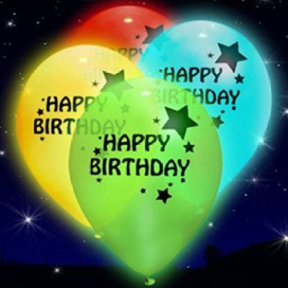 Smartcraft Printed Led Happy Birthday Printed Balloons - Pack of 25 , LED Party Supplies , Party Decorations,for Party Festival Diwali Christmas New Years Celebrations Gifts - Assorted Colours Balloon