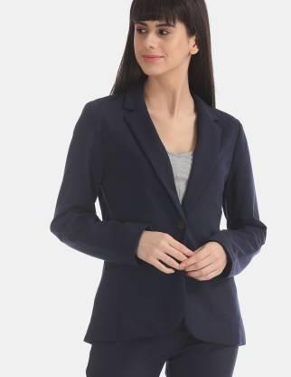 Solid Single Breasted Casual Women Full Sleeve Blazer(Dark Blue)