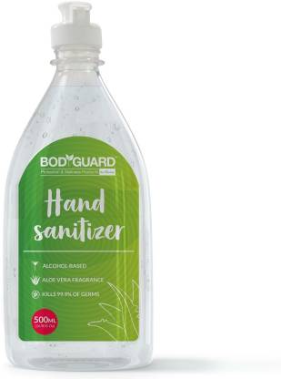 Bodguard Alcohol Based  - 500 ml with Enriched Tea Tree Oil, Vitamin E and Aloe Vera 500 ml (Pack of 3) Hand Sanitizer Bottle