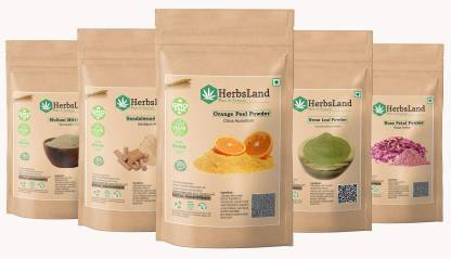 HerbsLand 100% Bio Multani Mitti Sandalwood (Chandan) Orange Peel Neem Leaf Rose Petals Powder for Face and Skin (50gm each)