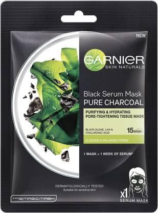 GARNIER Skin Naturals, Charcoal, Face Serum Sheet Mask (Black)