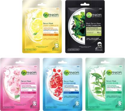 GARNIER Skin Naturals, Face Serum Sheet Mask Pack of 5 (Light Complete + Hydra Bomb Blue + Sakura White + Hydra Bomb Green + Charcoal)