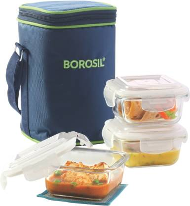BOROSIL Set of 3 Klip N Store Microwavable Containers with Lunch Bag 3 Containers Lunch Box