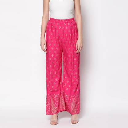 Regular Fit Women Pink Rayon Trousers
