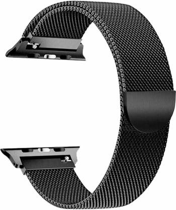 GETTECHGO Premium Stainless Steel Replacement Milanese Magnetic Loop for i watch (42-44mm) Smart Watch Strap(Black)