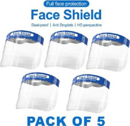 MASONIC Fluid Resistant Clear Full Face Masks Protective Anti-Splash Facial Cover with Elastic Band and Soft Sponge (Pack of 5)...