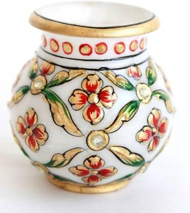 Craft International Handmade Marble Kalash Gold Painted Marble Kalash
