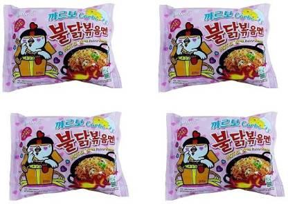 Samyang Hot Chicken Ramen Carbo Noodles, (Pack of 4) 130 grams Instant Noodles Non-vegetarian