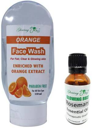 Glowing Buzz Combo Of Orange Face Wash For Fair, Clear and Glowing Skin (110 ml) and 100% Pure Rosemary Essential Oil for Therapeutic Aromatherapy (30 ml) (Set of 2) (1 Pc Each)