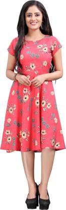 Hiva Trendz Women Skater Multicolor Dress