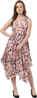 GaurGeous Women Asymmetric Multicolor Dress
