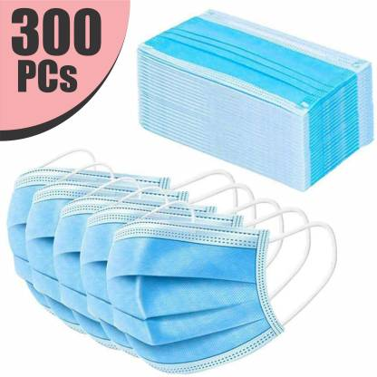 VeBNoR 300 Units Disposable 3 Layer Pharmaceutical Breathable Surgical Pollution Face Mask Respirator with 3 Ply For Men, Women, Kids 3 Ply Surgical Mask (300 Piece) Surgical Mask