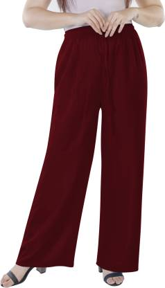 KURTI WORLD Relaxed Women Maroon Trousers