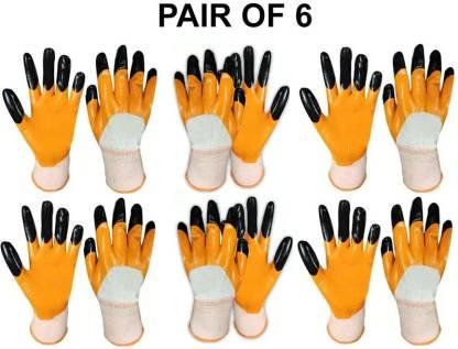 Home & Wrap Super Quality Nylon Anti cut safety Hand Gloves Orange (6) Nylon  Safety Gloves