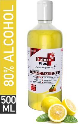 Detoxx Plus a pharmaceutical product | 80% Ethyl Alcohol Based - (Lemon) Hand Sanitizer Bottle