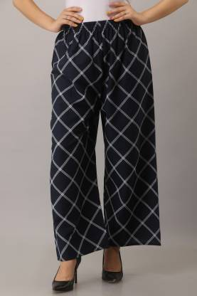 Relaxed Women Dark Blue Rayon Trousers