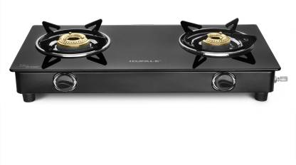 Ideale Desso ISI Mark Glass Top 2 Burner Gas Stove Glass, Stainless Steel Manual Gas Stove