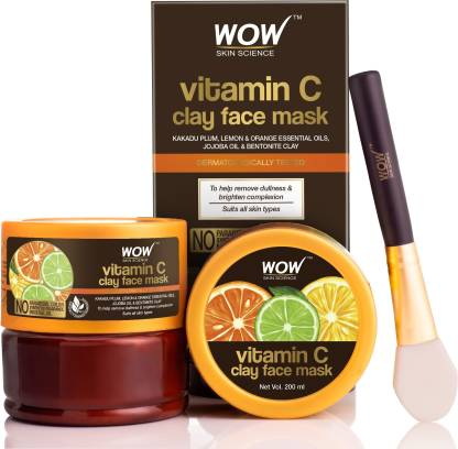 WOW SKIN SCIENCE Vitamin C Glow Clay Face Mask with Lemon & Orange Essential Oils, Jojoba Oil & Bentonite Clay - No Parabens, Synthetic Fragrance, Mineral Oil & Color