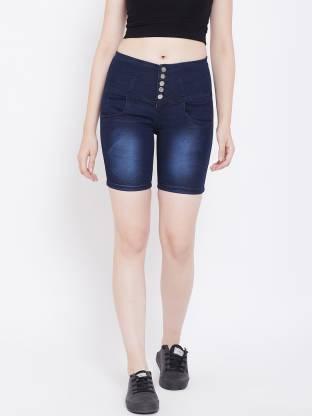 Nifty Solid Women Denim Blue Denim Shorts