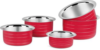 Classic Essentials Tope Set (Stainless Steel, Non-stick, Induction Bottom) Tope Set 1 L, 1.5 L, 2 L, 2.5 L, 3 L capacity 15 cm, 17 cm, 19 cm, 21 cm, 25 cm diameter