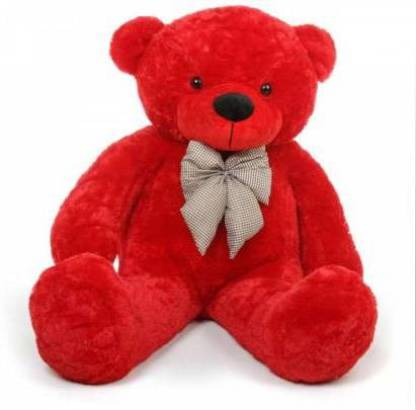 Mowgli Red Smart American teddy bear 3 feet for 89.5 cm gift ( Special some one ) - 89.5 cm (Red)  - 89.5 cm