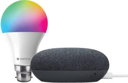 Google Nest Mini with Smitch WiFi RGB Smart Bulb 7W with Google Assistant Smart Speaker