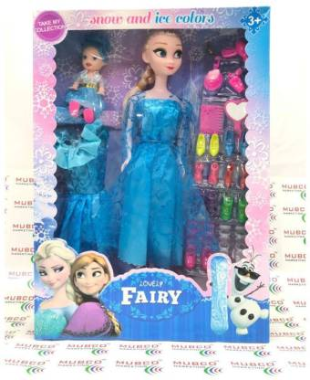 Mubco Frozen Elsa & Little Baby Doll House Set with 2 Dresses, 8 Different Types Shoes with Make-up Accessories