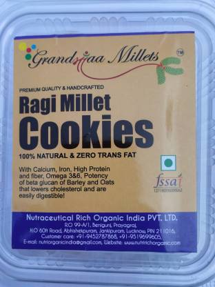 GRANDMAA Millets Ragi Butter zero trans fat Cookies, High Fiber Delicious Cookies