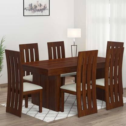 Chairs Solid Wood 6 Seater Dining Set, Wooden Dining Room Furniture Sets