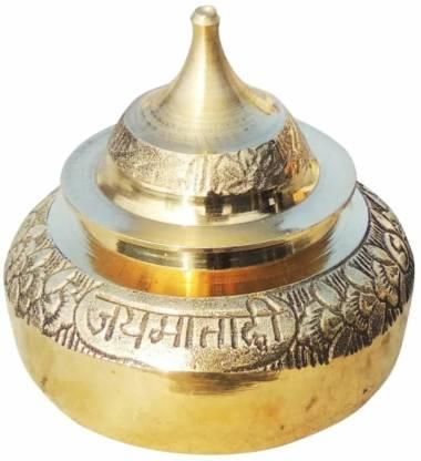 salvusappsolutions Brass Handmade Golden Color Beautiful Kumkum/Sindoor Box (2 Inch X 1 Inch X 3 Inch) Decorative Showpiece  -  7.62 cm